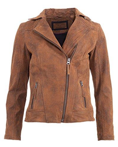 TOM TAILOR Damen Lederjacke Sportlich 5071002 Cognac M