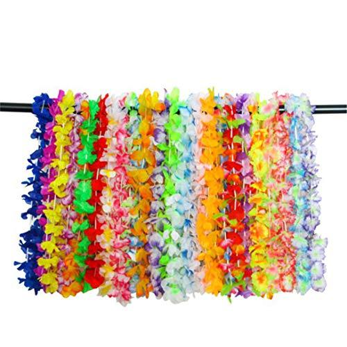 GHJUU Juego de 36 collares hawaianos con flores tropicales hawaianas Lei hawaianas para verano, fiestas de playa, suministros de decoración para regalos