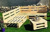 Conjunto RINCONERA Sofa PALETS 2m x 2m 1xMESA 80cm x 50cm Lijado Y Cepillado -...