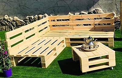 🌲LOS MATERIALES DE NUESTROS PALETS 🌲: Nuestros palets son fabricados con madera nueva maciza de pino de 1ª calidad, con lijado previo (no son palets reacondicionados, son nuevos). Conjunto RINCONERA con PALETS Europeos Mesa,Interior/Exterior NUEVOS A...