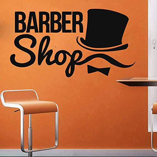 52 * 42cm Mann Friseur Shop Wall Decal Friseursalon Fenster Vinyl Sticker Beauty Friseur Männer Mustache Hut Art Dekor Wasserdicht