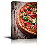 Canvas Prints Wall Art - Delicious Italian Pizza Served on Wooden Table | Modern Wall Decor/Home Art Stretched Gallery Canvas Wraps Giclee Print & Ready to Hang - 36' x 24'