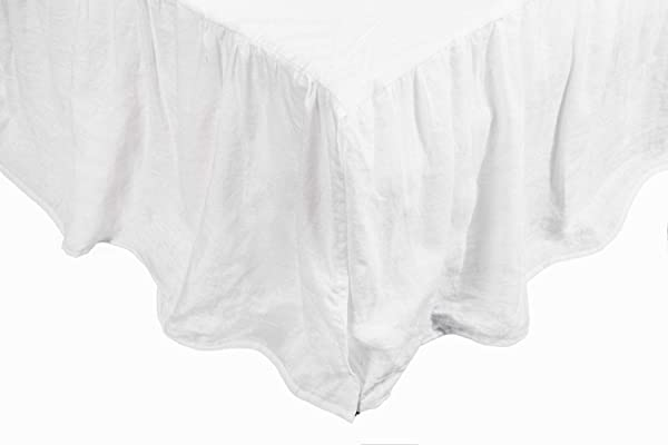 Meadow Park Washed French Linen Bed Skirt Dust Ruffle Queen Size Super Soft Ruffle Style White Color