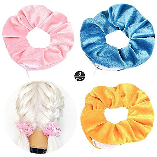 ZOEAST(TM) Hidden Pocket Premium Velvet Scrunchie with Secret and Hidden Zipper, Soft Hair Ties Bracelet, Key Money Storage Bag Wallet, Elastics Hair Band (Blue Gold Pink)