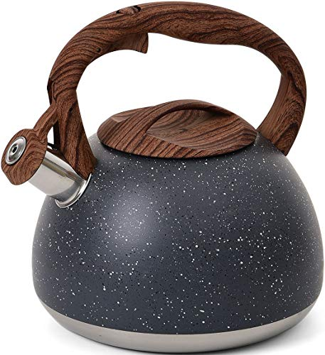 YIIFEEO 2.8 QT Stone Marble Finish Tea kettle, Stainless Steel Whistling Teapot, Stove Top Water kettle with Wooden Anti-heat Handle(Gray)