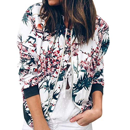 Damen Frühling Jacke FORH Frauen Elegant Blumenmuster Bedruckte Baseball Mantel Mode Stehkragen Langarm Bomber Jacke Kurz Cardigan Reißverschluss Sommerjacke