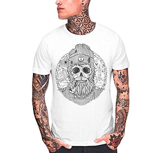 VIENTO Sailing Ghost Camiseta para Hombre (Blanco, XX-Large)