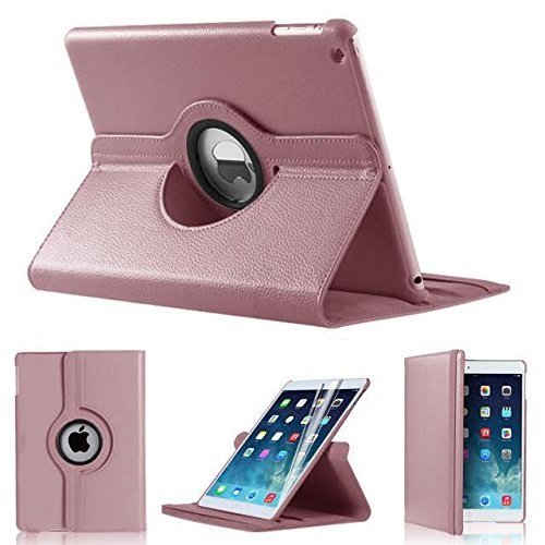 iPro Products Rotating 360 Degree PU Leather Case Cover for iPad 2/3/4 (iPad 2/3/4, ROSE GOLD)