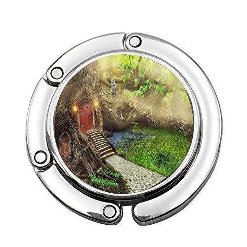 Casa de árbol de Hadas con Camino de Piedra, Colgante de Bolso portátil Personalizado, Bolso de Barra de Mesa, Gancho Superior giratori
