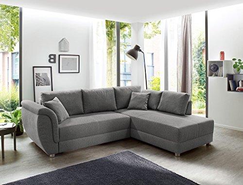 expendio Wohnlandschaft Tapio 256x196 cm grau Schlafsofa Eckcouch Couch Sofa Polsterecke Bettkasten Wohnzimmer