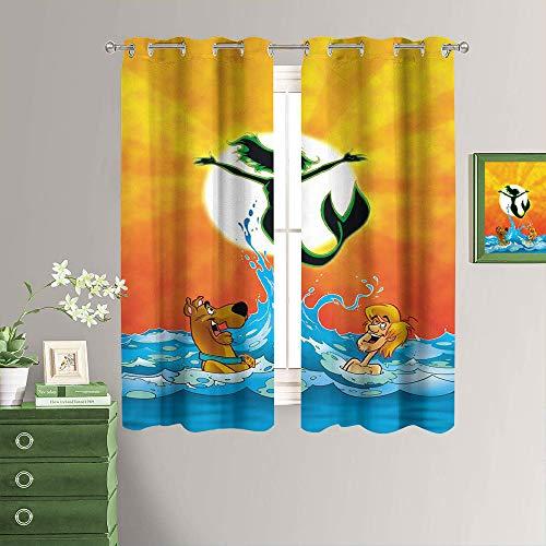 Movie Scooby-doo - Cortina opaca con ojales para habitación de niñas, de microfibra, ahorro de energía, con aislamiento térmico, cortinas opacas para dormitorio de 132 x 213 cm