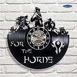 xcvbxcvb Reloj de Pared de Vinilo de Regalo Wow, decoración Vintage, Figura de Demonio Illidan, Reloj de Pared, Reloj Despertador Sutter, Reloj Grande