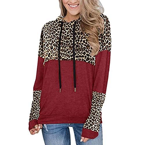 Jersey Suelto con Capucha Y Estampado De Leopardo De Manga Larga para Mujer Casual