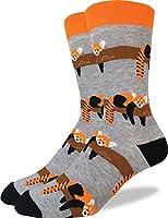 Good Luck Sock Men's Red Panda Crew Socks - Grey, Adult Shoe Size 7-12