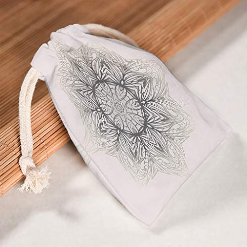 XHJQ88 6 Pack Beige Mandala Drawstrings Bag Herbruikbare Candy Tassen Pak voor Thanksgiving Verjaardagscadeaus Wrap Tassen - Ontwerp Gedrukt