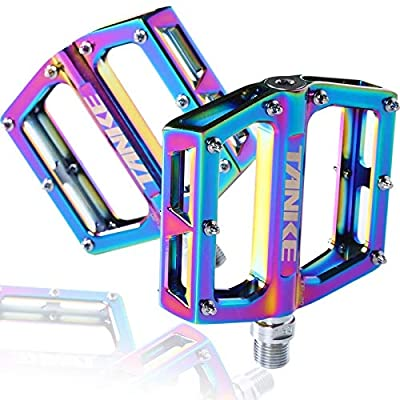 MTB Pedal Colorful Mountain Bike Bicycle Pedals 9/16 Inch Durable Aluminum Alloy Anti-Skid 3 Bearing Platform Flat Pedals for Road Bicycle Accessories