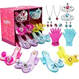 LOSLANDIFEN Girls Princess Dress up Shoes Set and Fashion Jewelry Accessories Little Girl Role Play Shoes Collection Set for Toddlers Little Girls Ages 3-10 Years Old