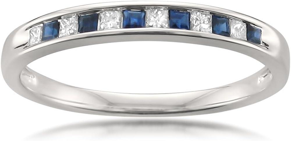 La4ve Diamonds 1/4 Carat Diamond, Channel-Set 14kt White Gold Princess-Cut Diamond & Blue Sapphire Bridal Wedding Band Ring (H-I, I1-I2)