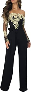 Aro Lora Women's Off Shoulder Jumpsuit Floral Embroidery Lace See Through Wide Leg Romper