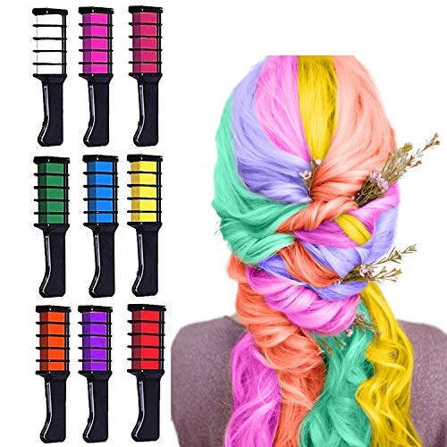 Hair Chalk for Girls, Kids Temporary Bright Hair Color Chalk Combs for Girls Gifts of Ages 3 4 5 6 7 8 9 10 11 12+ for Birthday Children's Day New Year Holiday DIY Cosplay Party, 9 Colors