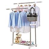 Bastidores de secado piso doble - barra - tipo percha de ropa interior dormitorio de acero inoxidable colgadores móviles simples ( Color : A )