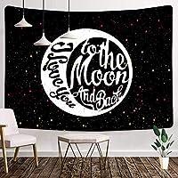 黒と白のタペストリー60X40インチ私は月にあなたを愛し、背中のタペストリー有名人は子供のためのタペストリーを引用します大人の部屋の装飾6