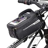 Bike Frame Bag, Borsa Telaio Bici, Borse Bici Impermeabile con Porta Cellulare, Accessori Bici con Visiera Parasole Touchscreen e Ampio Spazio, Adatto per Telefoni Sotto 6.5 Pollici