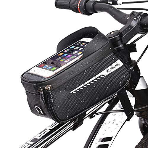 Bike Frame Bag, olsa Impermeable para Bicicleta con Orificio para Auriculares, Cremallera Doble Viseras y Pantalla táctil TPU, Bolsa para Cuadro Bicicleta para Teléfono Movil Dentro de 6,5 Pulgadas
