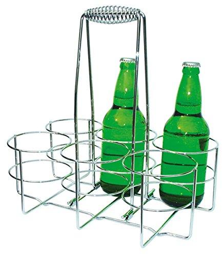 APS Flaschenträger, Flaschenkorb, Flaschenbehältnis für 6 Flaschen, Ring Ø 9,5 cm, 21,5 x 32 cm, Höhe 33 cm, aus verchromten Metall