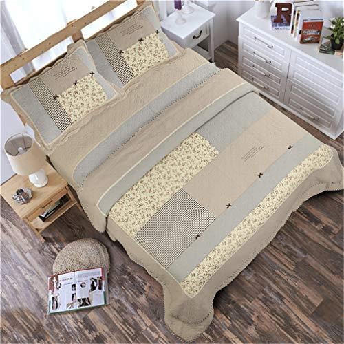 ADGAI Khaki gewatteerde sprei gooit dubbel zacht katoen gewatteerde Bed Cover Coverlets 230 x 250 cm, omkeerbare retro patchwork deken gooit voor Sofa Bed