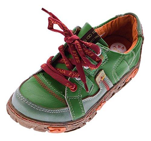 TMA Comfort Damen Leder Schuhe Schnürer 4181 Sneakers Grün Turnschuhe Halbschuhe Gr. 36