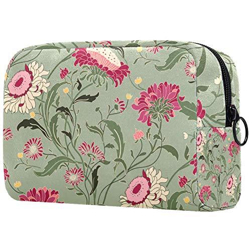 Trousse de toilette pour femme Motif floral rose fond vert