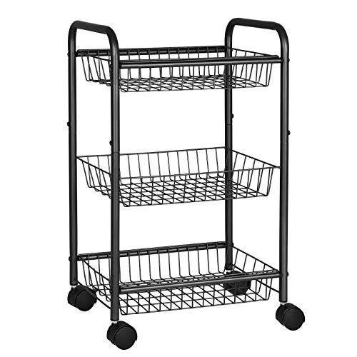 SONGMICS 3-Tier Metal Rolling Cart on Wheels with Baskets, Lockable Utility Trolley with Handles for Kitchen Bathroom Closet, Storage with Removable Shelves, Black UBSC03BK