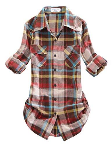 Matchstick Damen Flanell Kariert Shirt #B003(2021 Checks#4,Medium(Fit 35''-37''))