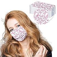 マスク 50枚 使い捨てマスク 不織布 3層高密度フィルター素材 通気性 超快適マスク 超立体 防塵マスク チョウ柄 柄物 マスク 超快適マスク 大人用 男女兼用 通勤 お出かけ安心 chensen (E)