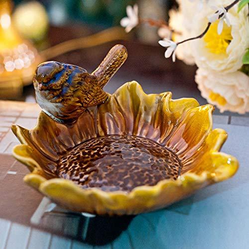 ZXW Cendrier- Pastorale Cendrier Rétro Vernis Vernis Céramique Petite Assiette De Fruits Assiette De Fruits Créatif Ménage Oiseau Porte-Savon (Couleur : Yellow sunflower-11x6cm)