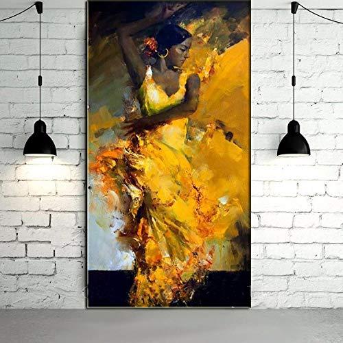 Chihie Retrato Abstracto Bailarina de Flamenco española Sexy en Vestido Amarillo Pintura al óleo sobre Lienzo Arte de Pared Christmas 40cm x60cm Sin Marco