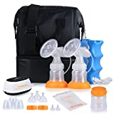 MADENAL Double Electric Breast Feeding Pumps Travel Set, Ice Pack, Breastmilk Storage Bags, Quiet and Soft with On the Go Cooler Bag