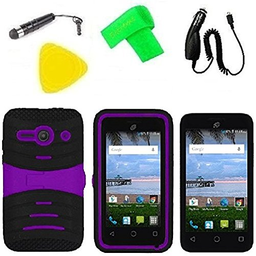 Heavy Duty Hybrid Phone Cover Case Cell Phone Accessory + Car Charger + Screen Protector + Extreme Band + Stylus Pen + Pry Tool For Alcatel Onetouch Pixi PULSAR LTE A460G (S-Hybrid Black Purple) -  ExtremeCases