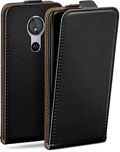 moex Flip Hülle für Motorola Moto E5 Hülle klappbar, 360 Grad R&um Komplett-Schutz, Klapphülle aus Vegan Leder, Handytasche mit vertikaler Klappe, magnetisch - Schwarz