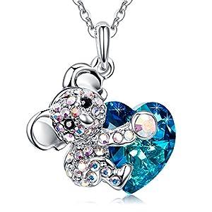MEGA CREATIVE JEWELRY Koala Bear Blue Heart Pendant Necklace with Crystals from Swarovski