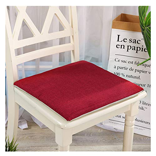 YAOTT Leinen Kissen Sitzpolster,Einfarbig Stuhlkissen Bequemes für Stuhl & Bank Gepolstertes Sitzkissen Stuhl für Indoor Outdoor Küche Esszimmer Tatami Weinrot 40 * 40cm(Memory Foam)