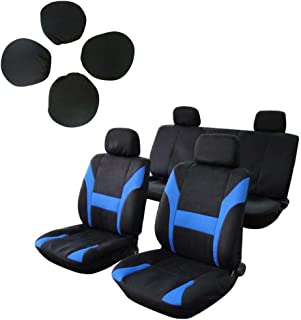 SCITOO Universal Black/Blue Car Seat Cover w/Headrest Polyester Seat Cushion(8pcs)