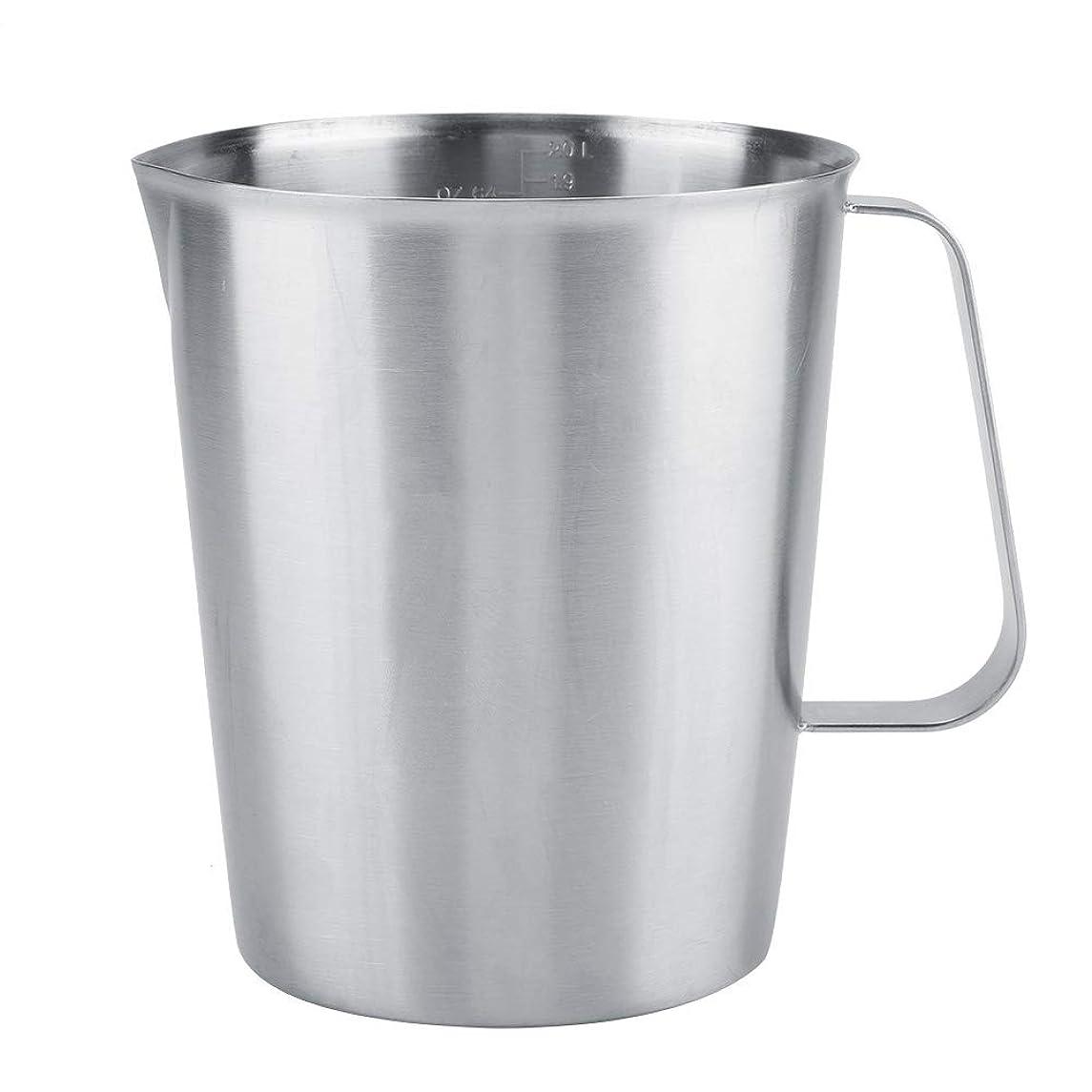 足首エチケット圧縮ミルク泡立てカップ、2000ml大型ステンレス鋼計量カップマグカップミルク泡立てピッチャー水差しコーヒーメーカー