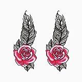 YLGG Pegatinas de Tatuaje de Moda Feather Rose, adecuadas para Mujeres, extraíbles