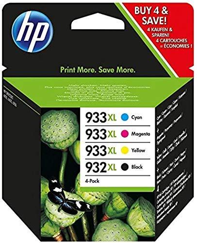 HP 932XL/933XL Pack de 4 Cartouches d'Encre Noire, Cyan, Magenta et Jaune grandes capacités Authentiques (C2P42AE)