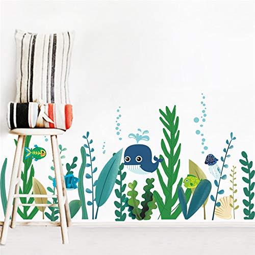 SZYND Unterwasserwal Fisch Seetang Wandaufkleber Schlafzimmer Kinderzimmer Wohnkultur Cartoon Tier Wandtattoos DIY Wallpaper PVC Wandkunst