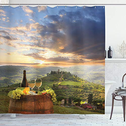 """Ambesonne Winery Shower Curtain, Vineyard in Chianti Tuscany Italy Autumn Sunrise Dramatic Clouds, Cloth Fabric Bathroom Decor Set with Hooks, 84"""" Long Extra, Lime Green"""
