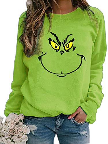 Meladyan Women's Funny Graphic Crew Neck Sweatshirts Merry Christmas Raglan Sleeve Pullover Shirts Tops Green