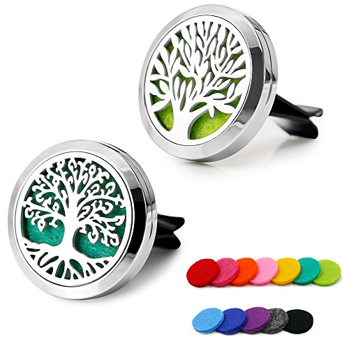 RoyAroma 2PCS 30mm Car Aromatherapy Essential Oil Diffuser Stainless Steel Locket with Vent Clip 12 Felt Pads
